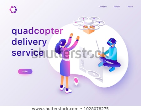 Robot technology and drone delivery service vector illustrations set. Stock photo © RAStudio