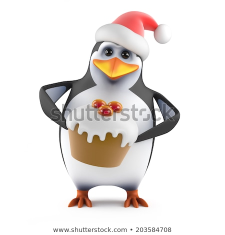 Cute Penguin Cartoon Character Holding Christmas Pudding And Candy Cane On The Snow Stock photo © hittoon