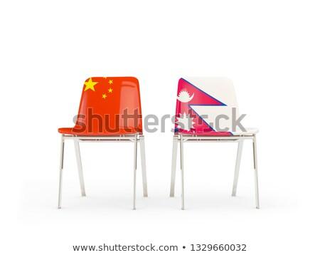два стульев флагами Китай Непал изолированный Сток-фото © MikhailMishchenko