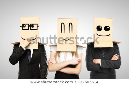 Funny hombre sonriendo caja de cartón cabeza Foto stock © ra2studio