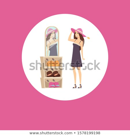 Shopping Woman Client in Circle, Trying Headwear Stock photo © robuart