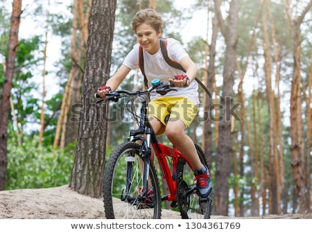 Silhouette · Radfahrer · Morgengrauen · Reiten · Mountainbike · Sport - stock foto © leedsn