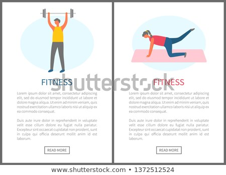 Women Doing Exercise on Mat, Web Pumping Vector Stock photo © robuart