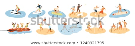 male playing ball in sea water activity vector stock photo © robuart