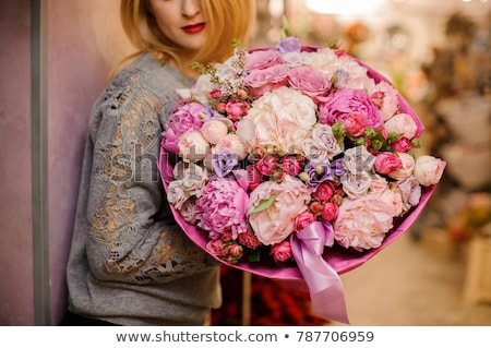Flower Bouquet in Wrapping Decorated with Bow Stock photo © robuart