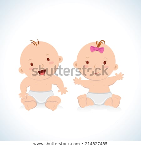Child Sitting in stroller Isolated Cartoon Baby Stock photo © robuart