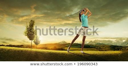 giovani · golfista · shot · ferro · golf · blu - foto d'archivio © lichtmeister