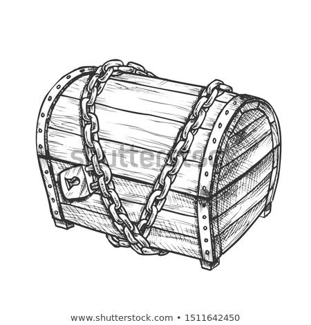 Kincsesláda védett fém lánc tinta vektor Stock fotó © pikepicture