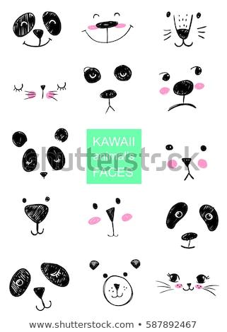 Stock fotó: Szett · aranyos · állatok · fej · ötlet · nyomtatott · póló