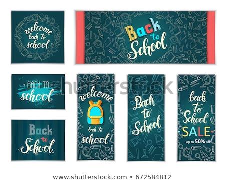 Back to school color quote chalk blackboard icons Stock photo © cienpies