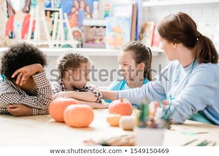 Сток-фото: школьница · глядя · один · Одноклассники · учитель · утешительный