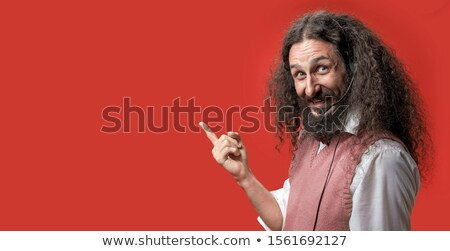 Excentrique posant rouge drôle heureux micro Photo stock © majdansky