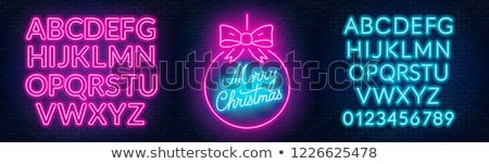 merry christmas party round neon sign stock photo © voysla