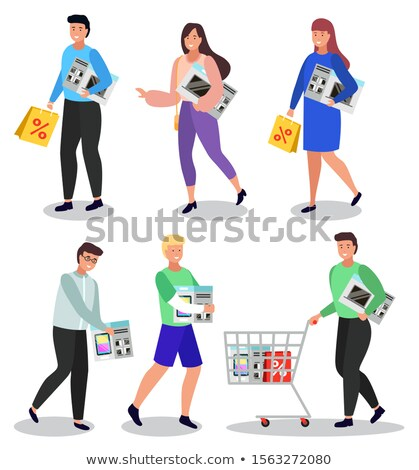 Woman Shopping Electronics, Lady with Microwave Stock photo © robuart