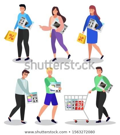 Kobieta zakupy elektroniki pani mikrofala Zdjęcia stock © robuart