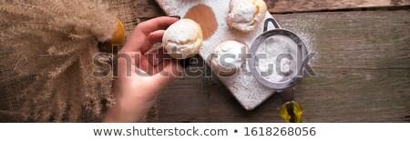 Afiş kadın el glasaj şekeri rustik stil Stok fotoğraf © Illia