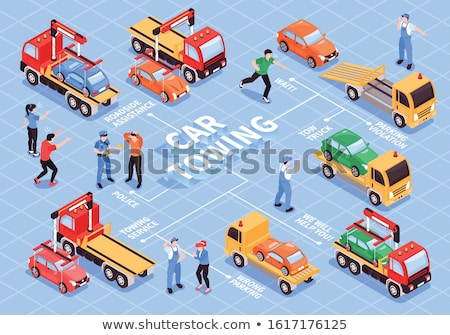 Tow Truck Transport Collection Icons Set Vector Stock photo © pikepicture