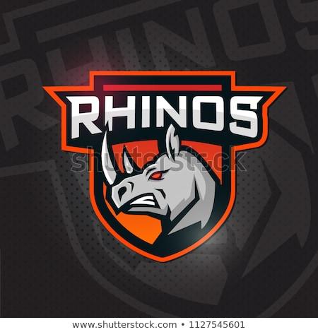 Rinoceronte escudo logotipo vetor rinoceronte monocromático Foto stock © krustovin