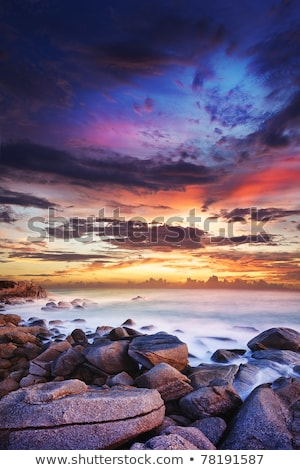sunset over the tropical bay long exposure vertical shot stock photo © moses