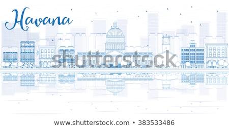 Hawana panoramę niebieski budynku samochodu Zdjęcia stock © ShustrikS