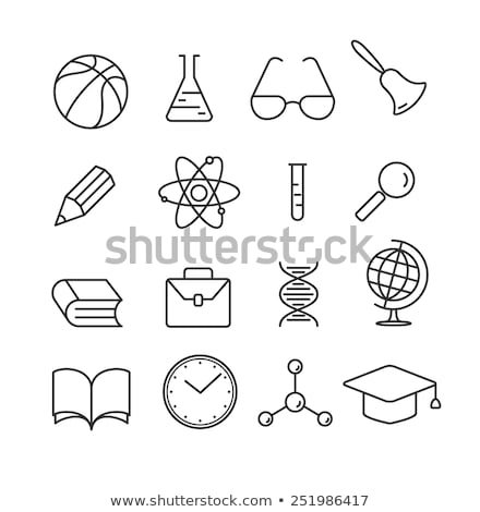 Molecule And Magnifier Icon Outline Illustration Stock photo © pikepicture