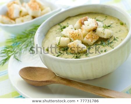 Delicious green broccoli cream-soup with salmon Stock photo © olira