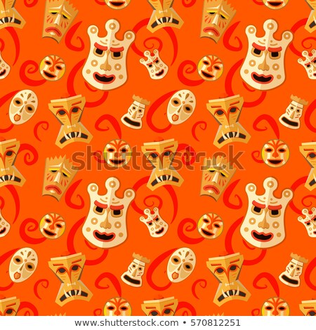 Different wooden voodoo masks on red background seamless pattern Stock photo © evgeny89