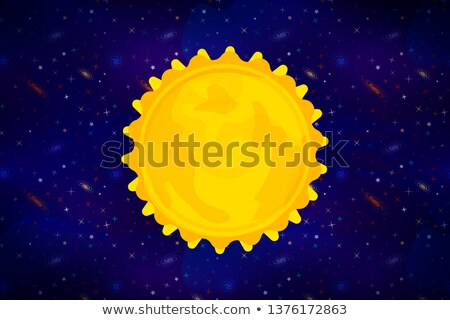 Bright cartoon Sun star on wide deep space background with lots of colorful stars Stock photo © evgeny89
