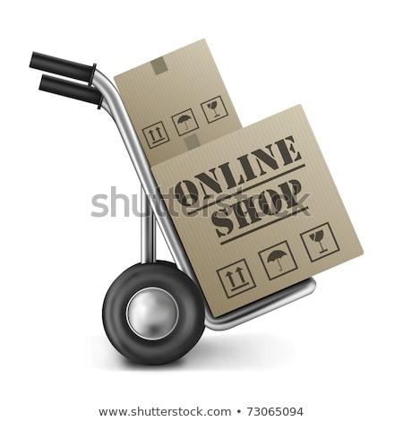 Online alışveriş kamyon karton kutuları kargo iş Stok fotoğraf © yupiramos