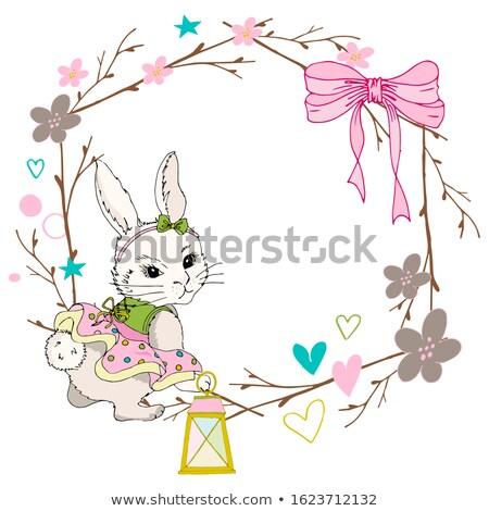 Mooie konijn guirlande Pasen karakter ontwerp Stockfoto © yupiramos