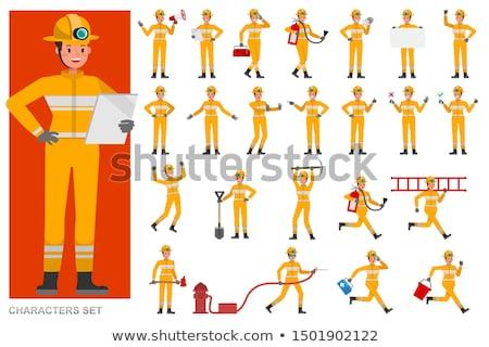 Cartoon strażak ognia maska zawodowych mężczyzna Zdjęcia stock © Voysla