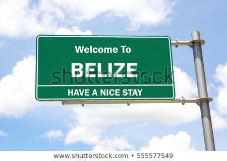 Belize autópálya tábla zöld felhő utca felirat Stock fotó © kbuntu