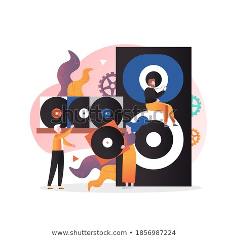 Girl in earphone with vinyl disk Stock photo © RuslanOmega