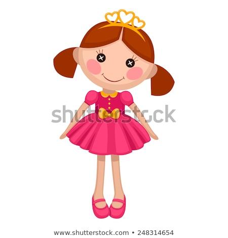девушки кукла сидят красочный платье белый Сток-фото © ElaK