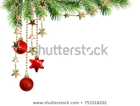 christmas fur tree on a white background with a ball stock photo © cookelma