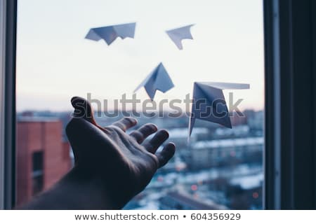 papier · vliegtuig · 3d · illustration · kid · paardrijden · kind - stockfoto © photocreo