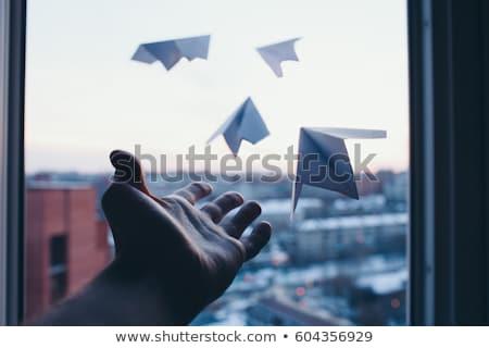 Stockfoto: Papier · vliegtuig · hemel · vrijheid · succes