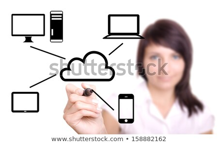 young woman drawing cloud computing diagram stock photo © redpixel