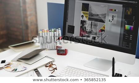 ストックフォト: グラフィックデザイン · カラフル · 単語 · 黒板 · 手 · 抽象的な