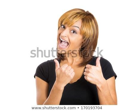 closeup happy ethnic girl give two thumbs up stock photo © ampyang
