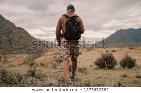 Man backpacking in the steppe Stock photo © photography33