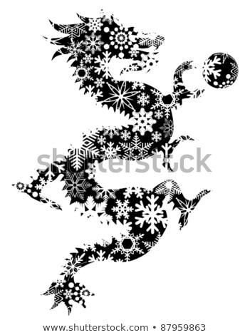 chinesisch drachen schwarz wei clip kunst stock foto jit lim jpldesigns. Black Bedroom Furniture Sets. Home Design Ideas