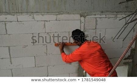 Mason ściany sam przemysłu czerwony pracownika Zdjęcia stock © photography33