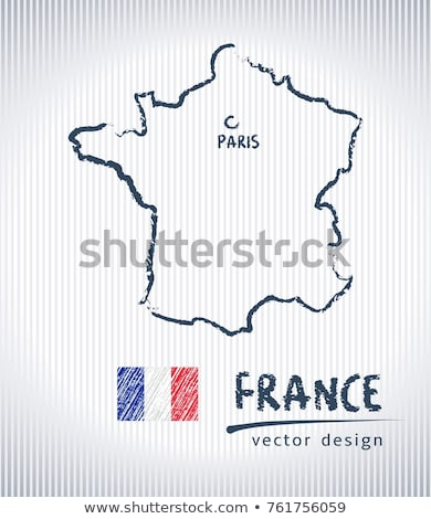 france map and flag draw on blackboard stock photo © ansonstock