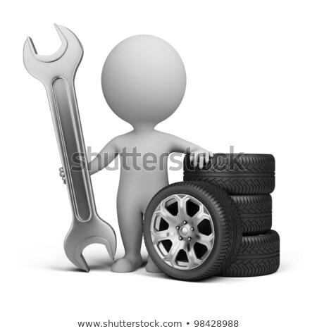 タイヤ · レンチ · ガレージ · 自動車修理 · サービス - ストックフォト © anatolym