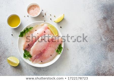 surowy · pstrąg · ryb · tabeli · papieru · drewna - zdjęcia stock © m-studio
