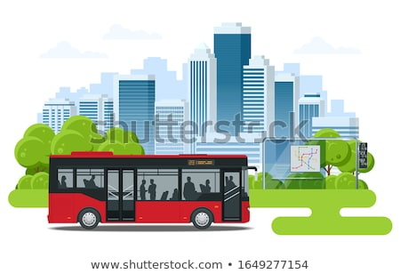 red city bus coach vector illustration stock photo © leonido