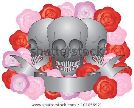 Stock fotó: Three Skulls With Banners Scrolls And Roses