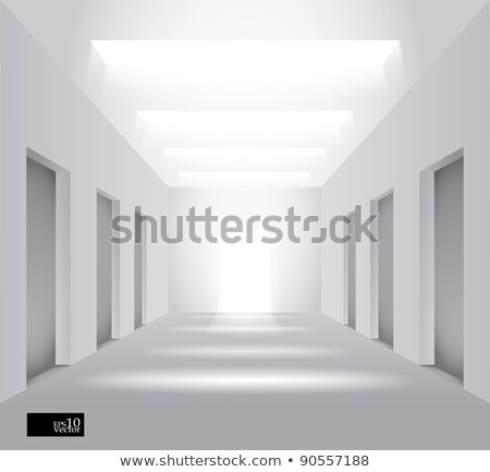long white corridor with the door at the end stock photo © lenapix