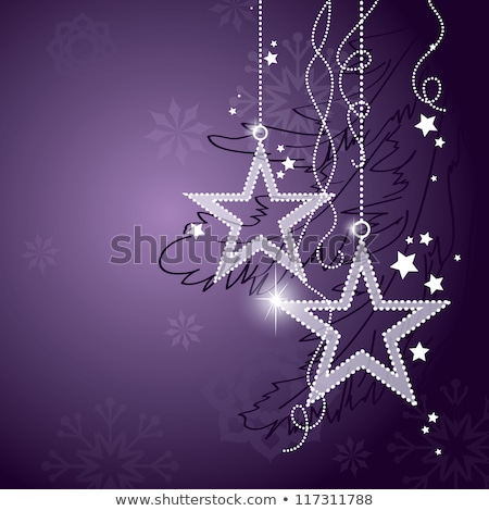 beautiful christmas decoration in purple and silver on white snow Stock photo © juniart